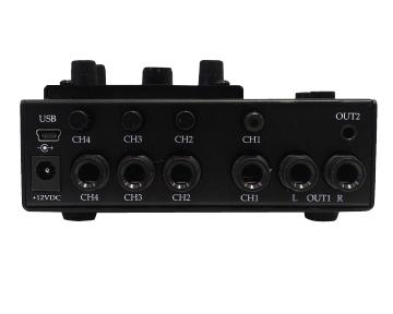 GigMix 4-1 mini digital mixer Rear view